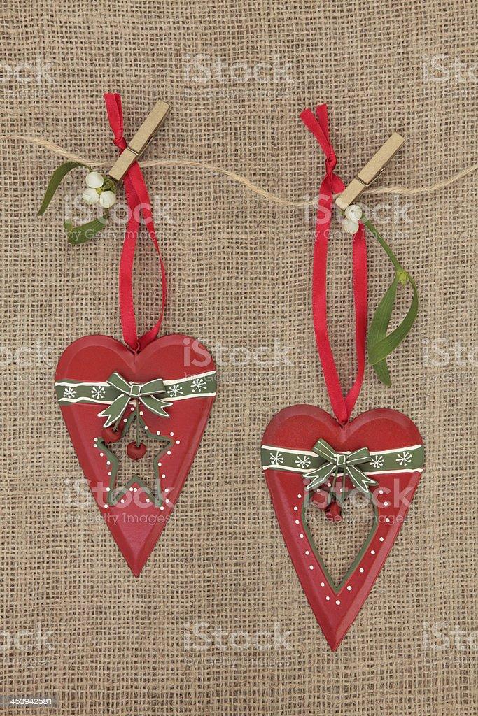 Christmas Heart Decorations royalty-free stock photo