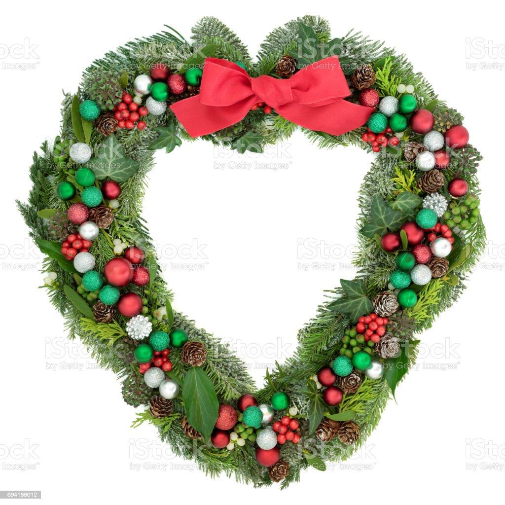 Christmas Heart Wreath.Christmas Heart Wreath Decoration Stock Photo Download