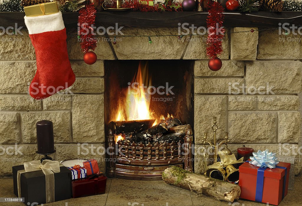 Christmas hearth royalty-free stock photo