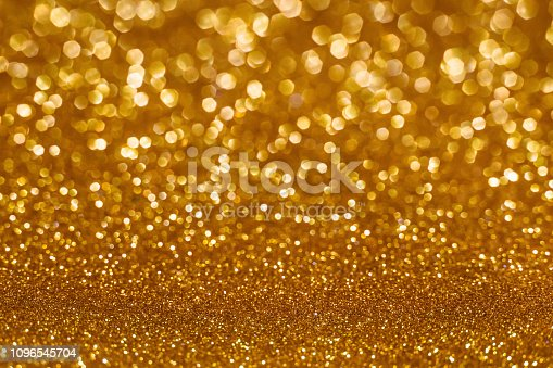istock Christmas holiday abstract bokeh background with gold lights. Glitter golden bokeh background 1096545704