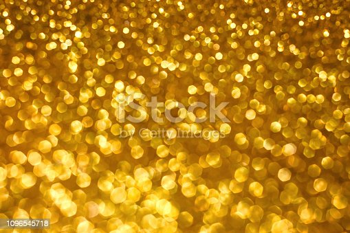 istock Christmas holiday abstract bokeh background with gold lights. Glitter golden bokeh background 1096545718