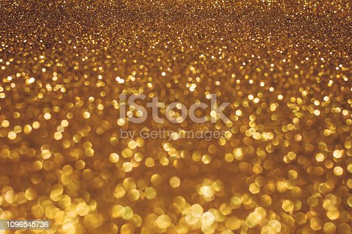 istock Christmas holiday abstract bokeh background with gold lights. Glitter golden bokeh background 1096545736
