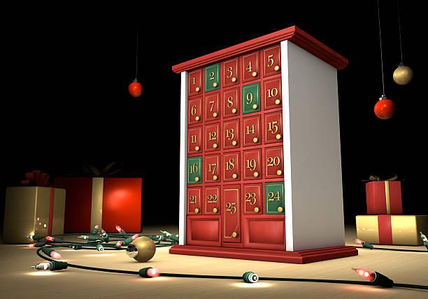 weihnachten urlaub adventskalender - adventskalender stock-fotos und bilder