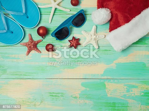 istock Christmas holiday at the beach concept 875577820