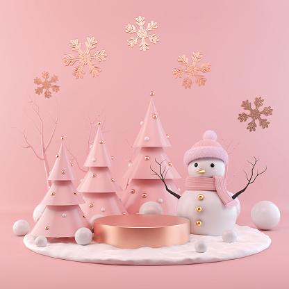 istock Christmas holiday background Scene with empty podium display. 1160006497