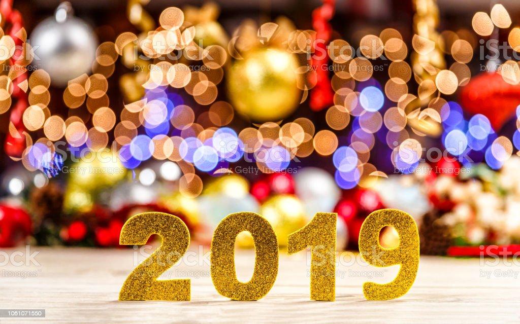 Weihnachten Urlaub 2019.Weihnachten Urlaub Hintergrund Mit Neujahr 2019 Zeichen Stockfoto