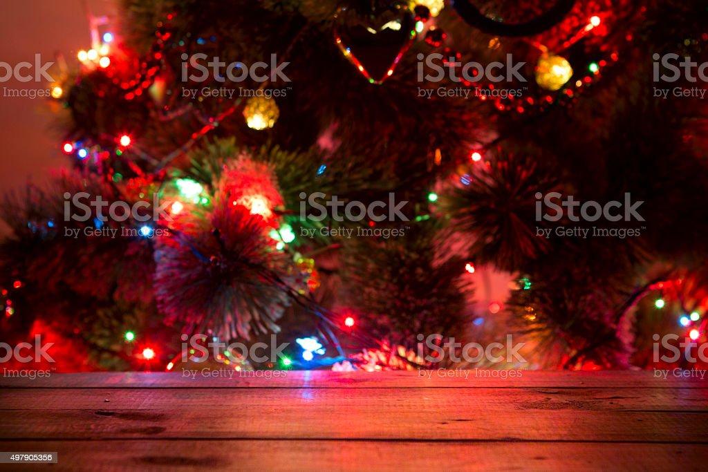 Fondo Festiva De Navidad Con Mesa De Madera Vacía Sobre