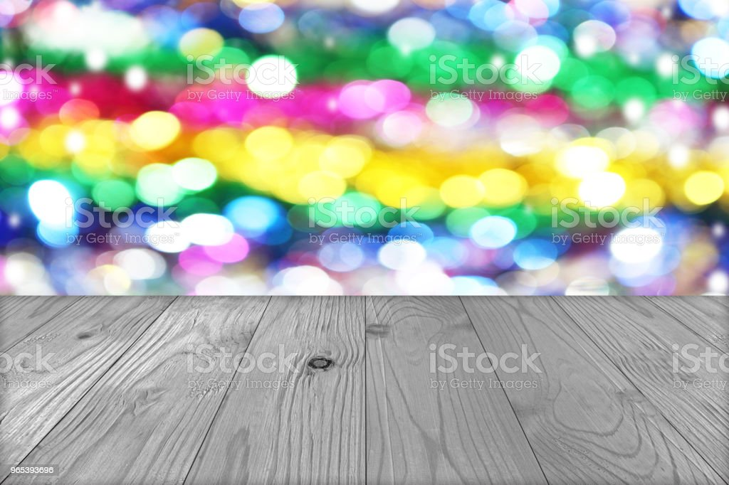 Christmas holiday background with empty wooden deck table over winter bokeh blurred background zbiór zdjęć royalty-free