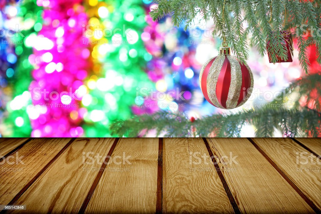 Christmas holiday background with empty wooden deck table royalty-free stock photo