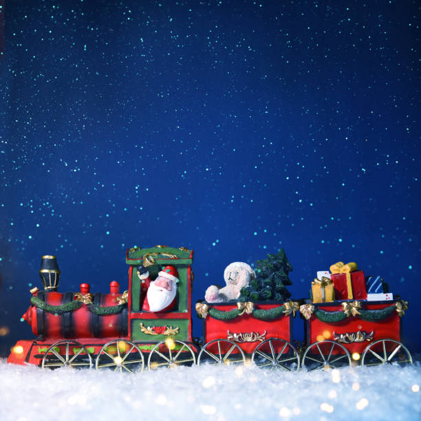 Christmas Holiday background with train stock photo