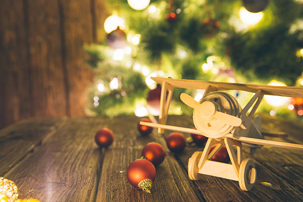 Christmas holiday background with wooden table stock photo