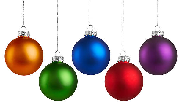 Christmas Holiday Balls Christmas Holiday Balls isolated on a white background christmas ornament stock pictures, royalty-free photos & images