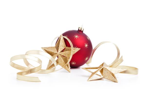 holiday julgranskulor med guld stjärna dekorationer och band isolerade - christmas decoration golden star bildbanksfoton och bilder