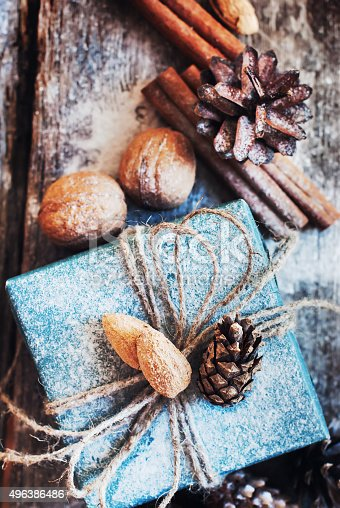 493890050 istock photo Christmas Holiday Box with Linen Cord and Natural Gifts 496386486