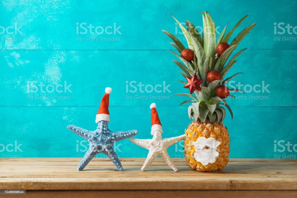 Christmas Pineapple.Christmas Holiday Concept With Pineapple As Alternative Christmas Tree Stock Photo Download Image Now