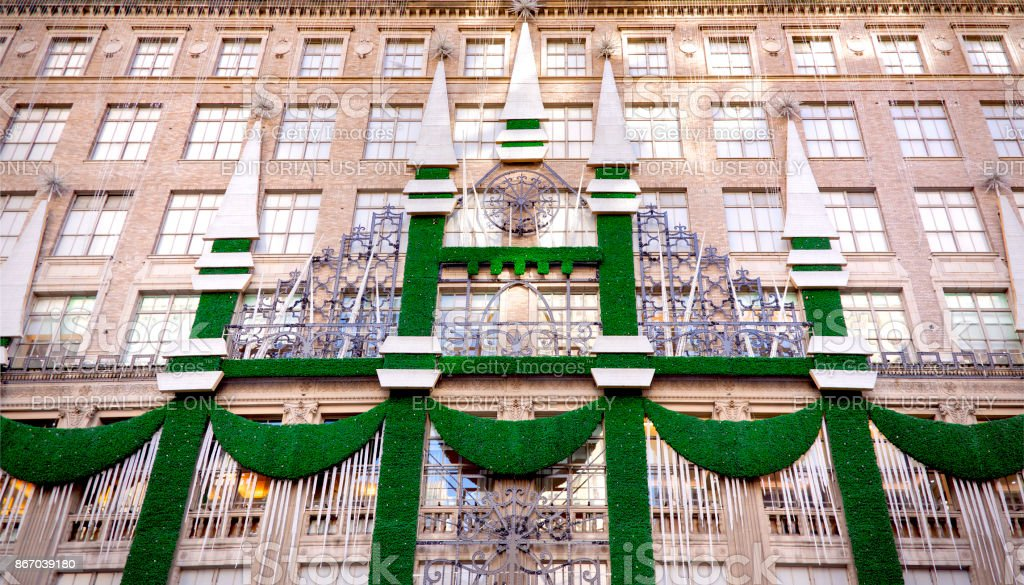 Christmas Holiday decorations at Saks Fifth Avenue stock photo
