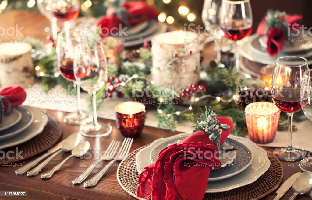 Christmas Holiday Dining - Foto stock royalty-free di Ambientazione interna