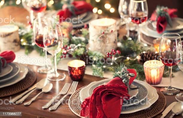 Christmas Holiday Dining - Fotografie stock e altre immagini di Ambientazione interna