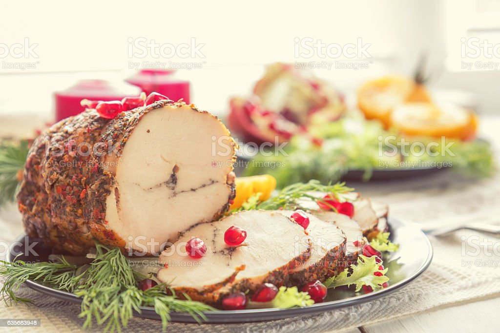Christmas holiday dinner. Stuffed chicken breast stock photo