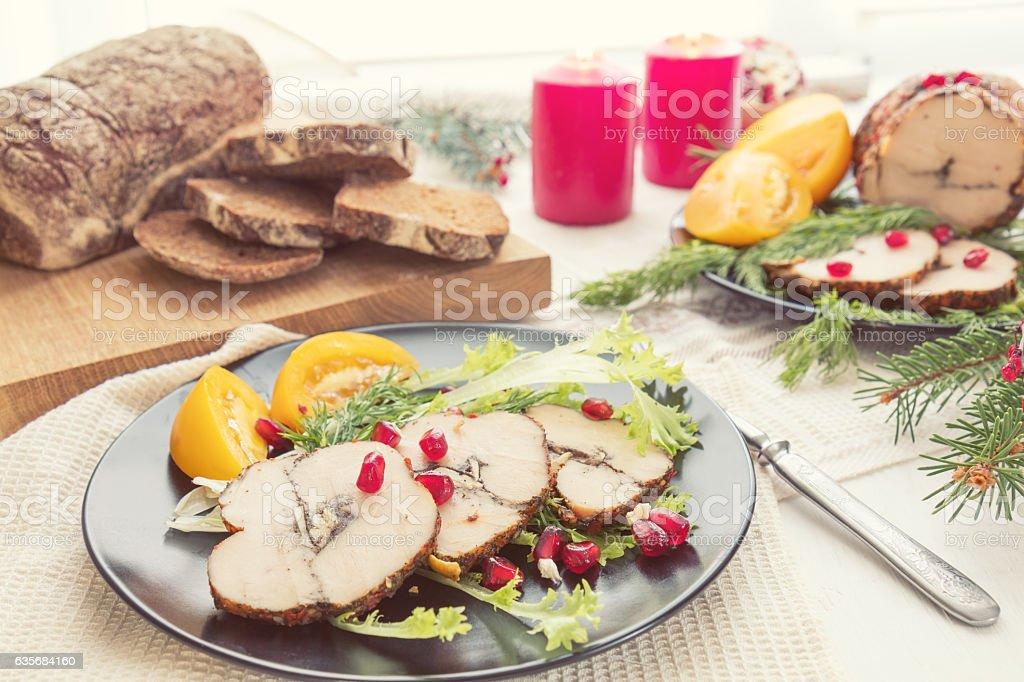 Christmas holiday dinner. Stuffed chicken breast stock photo