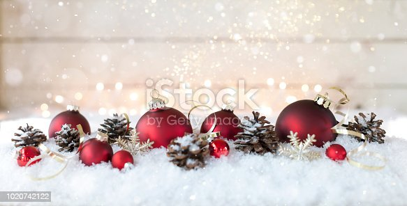 1020742072istockphoto Christmas holiday elegant baubles against an old wood background 1020742122