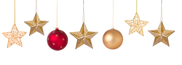 Christmas holiday set of elegant red and gold baubles and star ornaments isolated on white