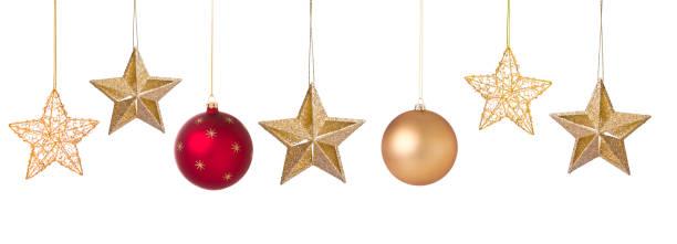 Weihnachtsurlaub elegante Kugeln und Stern Ornamente isoliert – Foto