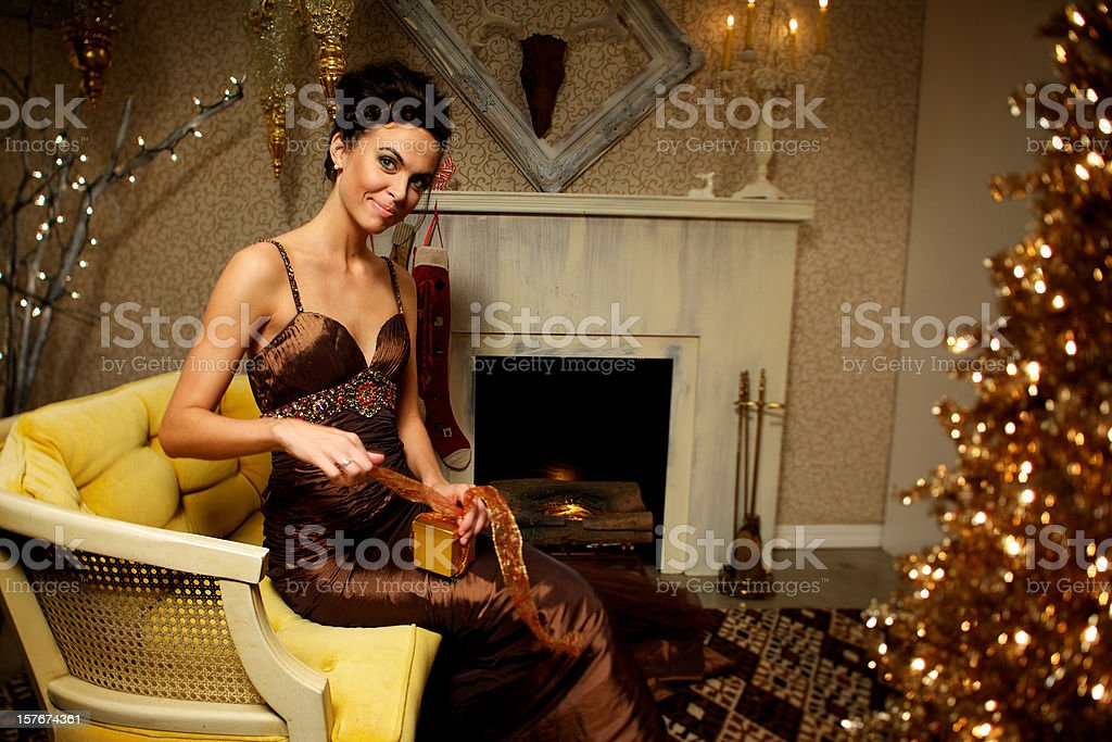 Christmas holiday elegant female stock photo