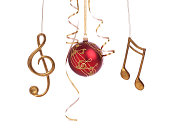 Christmas holiday elegant music bauble and decorations isolated on white
