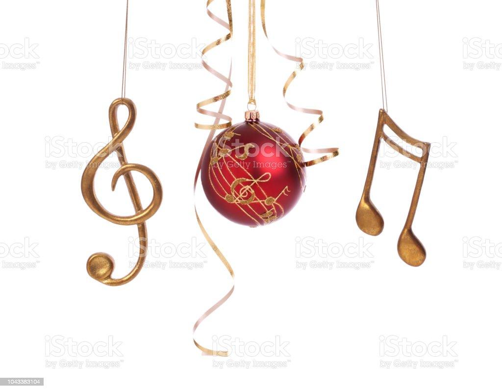 Weihnachtskugel Urlaub elegante Musik und Dekorationen, die isoliert auf weiss – Foto