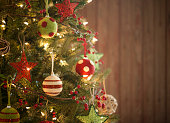 Christmas Holiday Environmentally friendly Tree, Natural Ornaments, Wood Background