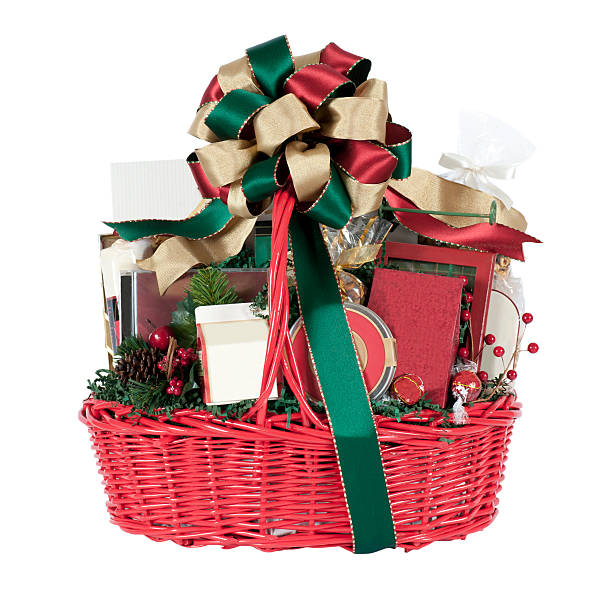 Christmas Holiday Gift Basket in Red, Green, and Gold stock photo