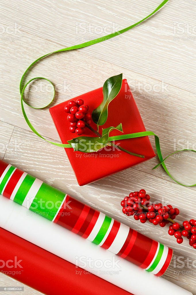 Christmas Holiday Gift Wrapping Paper Ribbons And Supplies Vertical Background Royalty Free Stock Photo
