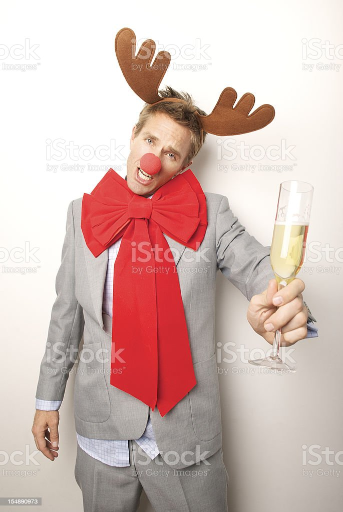 Christmas Holiday Office Party Businessman Reindeer Man Toasting Drunk royalty-free stock photo