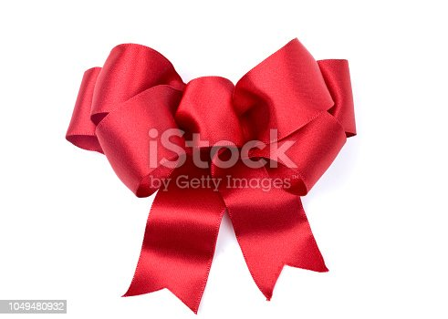 Christmas holiday red satin bow isolated on white