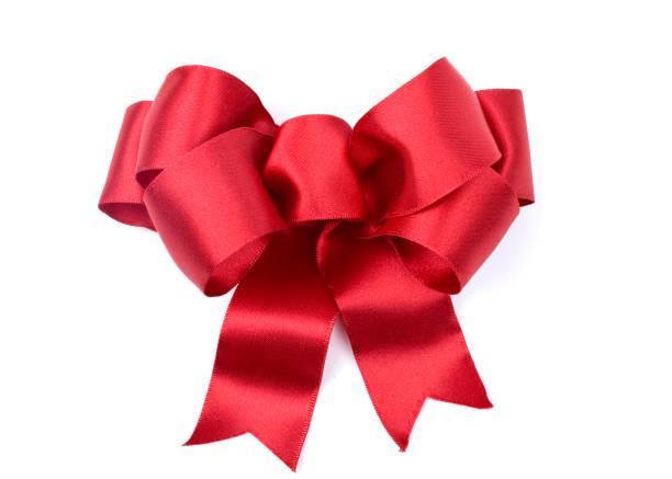 christmas holiday red satin bow isolated - laço nó imagens e fotografias de stock
