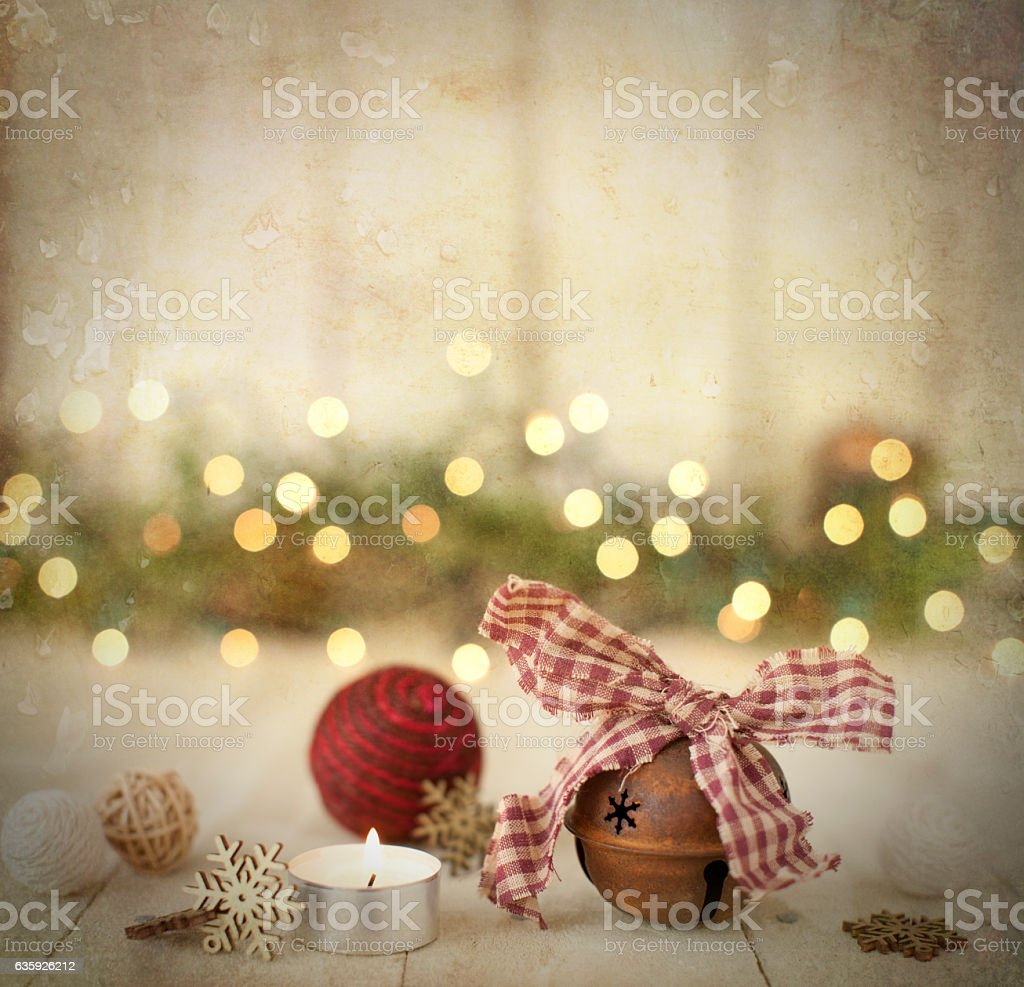 Christmas Holiday Rustic Ornaments, Baubles and Candle on Wood Background stock photo