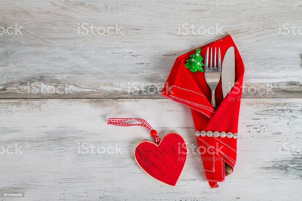 Christmas Holiday Table Setting on wooden background stock photo