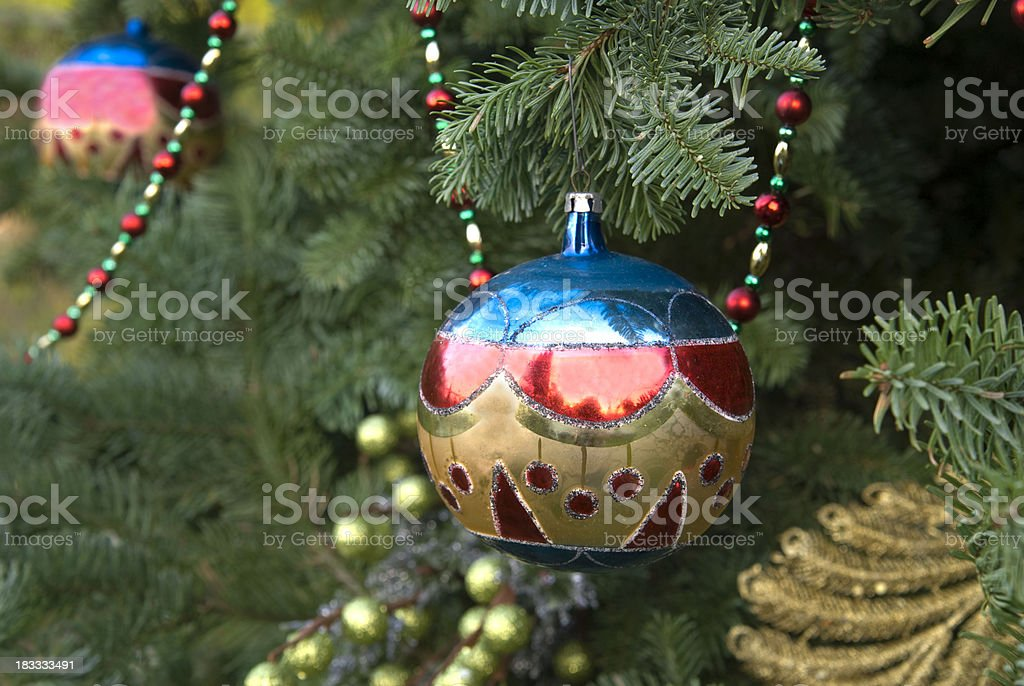 Christmas Holiday Tree Blue Red Vintage Ornaments Decorations Stock Photo Download Image Now Istock