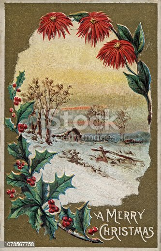istock Christmas holiday vintage card snow rural 1911 1078567758