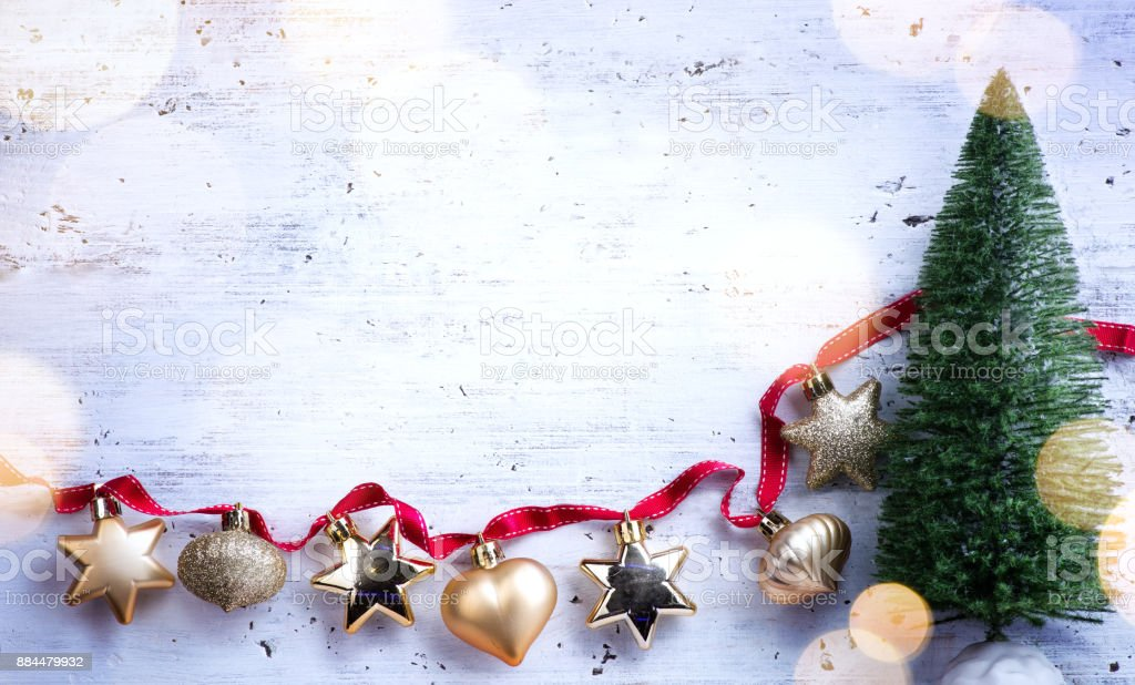 Christmas Holidays Composition On White Wooden Background Christmas Tree Decoration And Copy Space For Your Text Stock Photo Download Image Now Istock