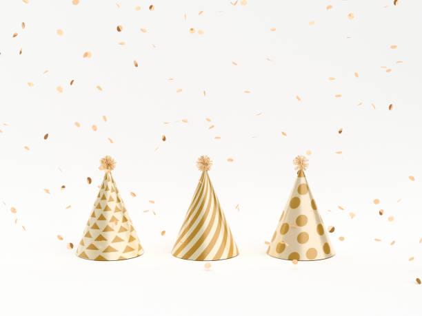 concepto minimalistico de navidad vacaciones, año nuevo, cumpleaños. - sombrero fotografías e imágenes de stock