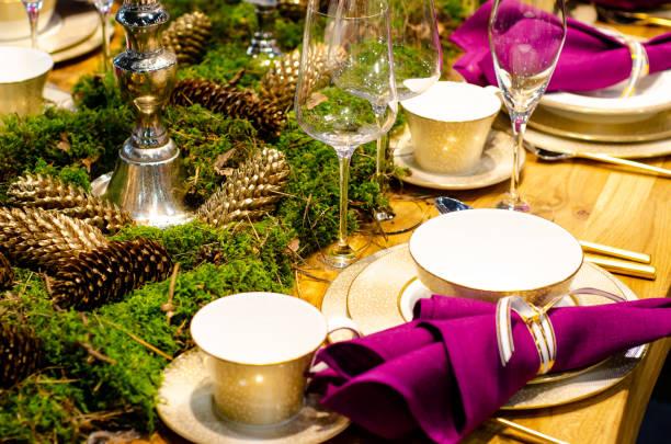 Christmas holidays table setting concept stock photo
