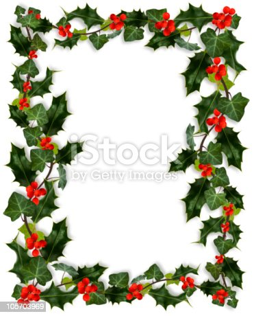 Holly and Ivy border isolated on white.