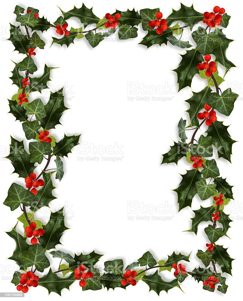 A Christmas holly border with no picture stock photo