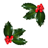Christmas Holly corners. Isolated, selective focus. SEE MY CHRISTMAS LIGHTBOX FOR MANY VARIATIONS AND IMAGES!