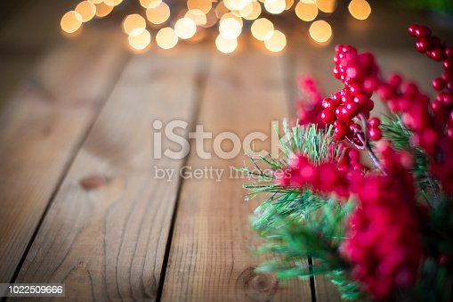 Christmas Holly and Wood background