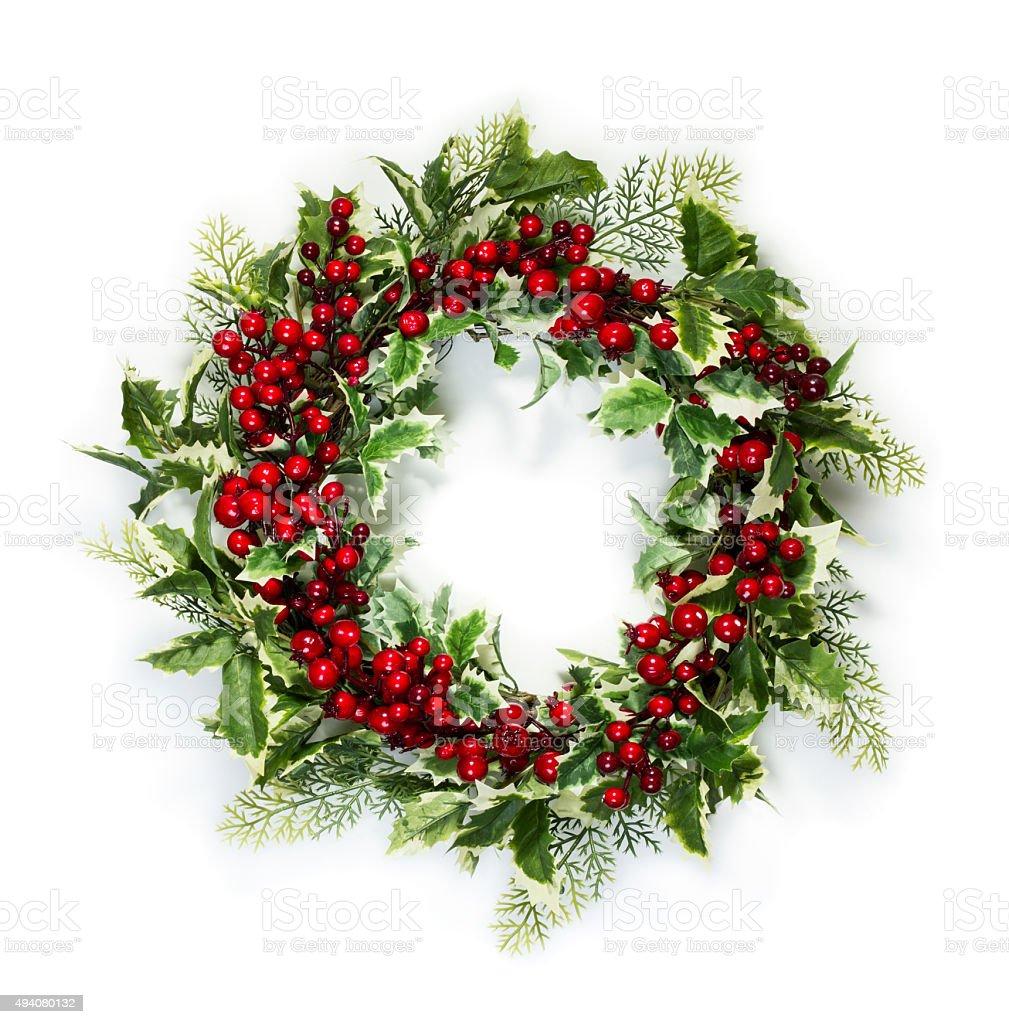 Christmas holly wreath stock photo