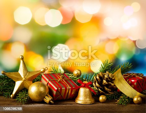 istock Christmas home decoration on festive abstract background 1066298268
