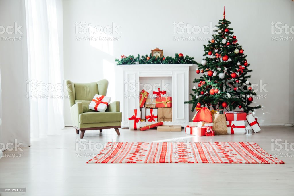 Christmas Home Interior Christmas Tree Red Gifts New Year Decor Festive Background Stock Photo Download Image Now Istock